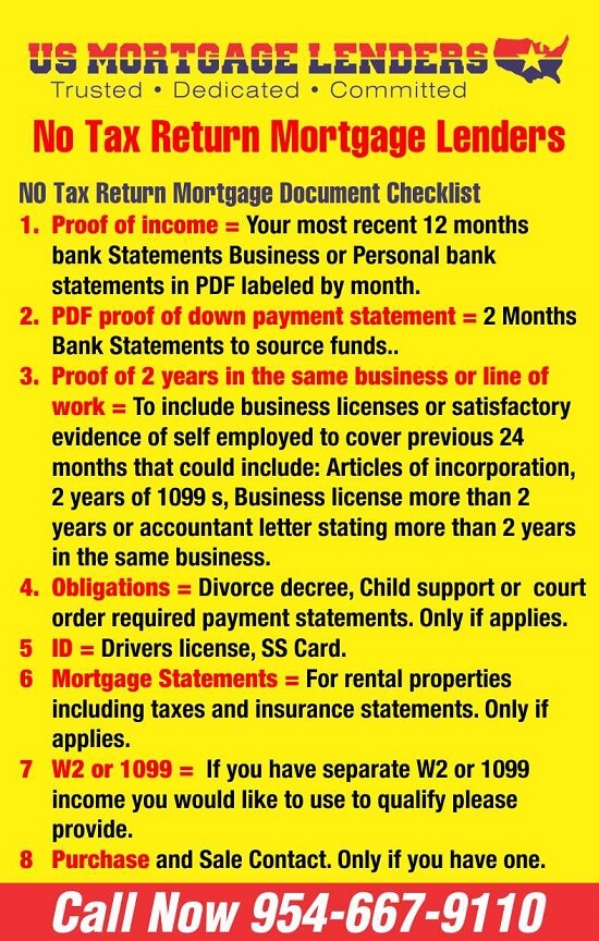 FHA , VA, NO Tax Return – Bank Statement Mortgage Lenders